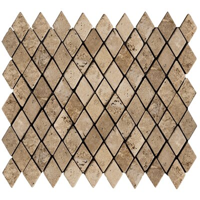 "Emser Tile Natural Stone 2"" x 1-1/4"" Travertine Rhomboid Mosaic in Mocha"