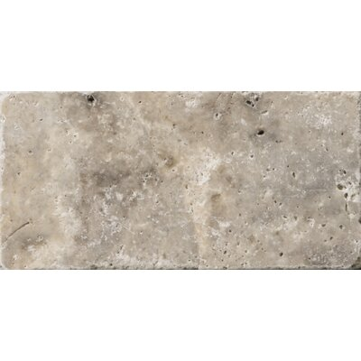 "Emser Tile Natural Stone 3"" x 6"" Tumbled Travertine Tile in Silver"
