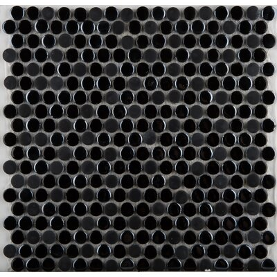 Emser Tile Confetti Porcelain Penny Round Mosaic in Black