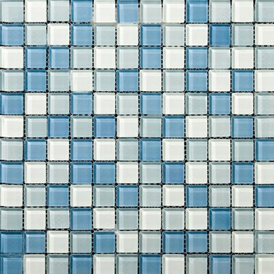 Emser Tile Lucente Glossy Mosaic Blend in Ocean Mist / Crystal
