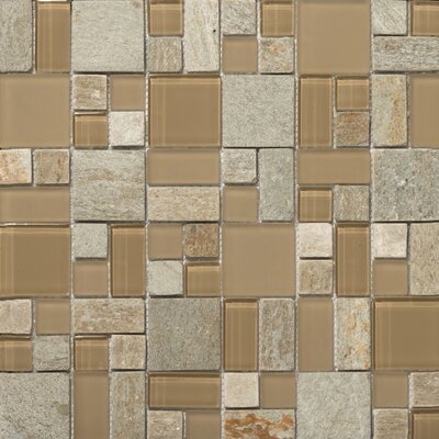 "Emser Tile Lucente 13"" x 13"" Stone and Glass Mosaic Pattern Blend in Putini"