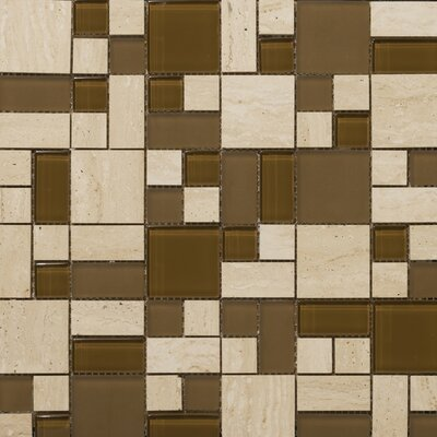 Emser Tile Lucente Random Sized Stone and Glass Mosaic Pattern Blend in Tromba