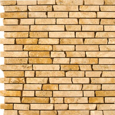 Emser Tile Natural Stone Random Sized Travertine Brick-Joint Mosaic in Oro