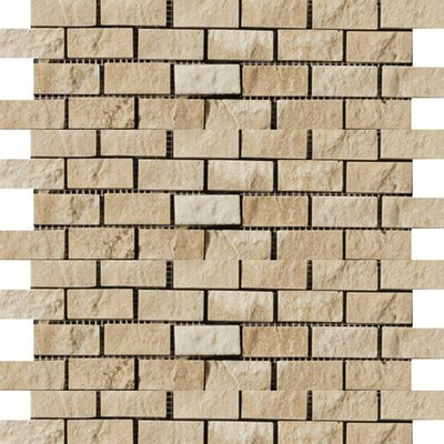 Emser Tile Natural Stone Travertine Split Face Brick-Joint Mosaic in Beige