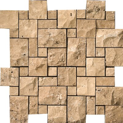 "Emser Tile Natural Stone 12"" x 12"" Travertine Split Face Versailles Mosaic in Oro"