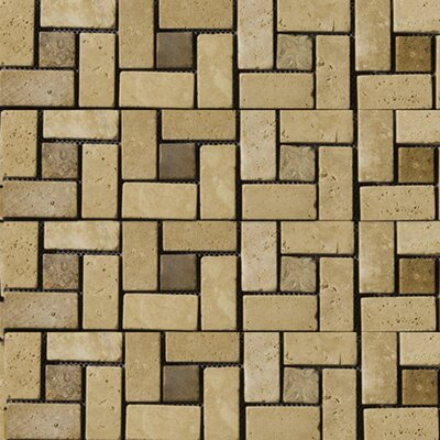Emser Tile Natural Stone Random Sized Travertine Pinwheel Mosaic in Beige/Mocha
