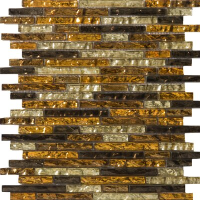 Vista Random Sized Glass Mosaic in Caldo Linear Blend