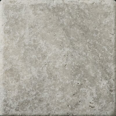 """Emser Tile Natural Stone 6"""" x 6"""" Tumbled Travertine Tile in Silver"""