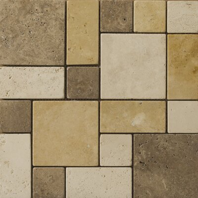 "Emser Tile Natural Stone 12"" x 12"" Travertine Split Face Versailles Mosaic in Beige / Mocha / Oro"