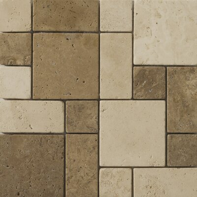 Natural Stone Random Sized Travertine Split Face Versailles Mosaic in Beige / Mocha