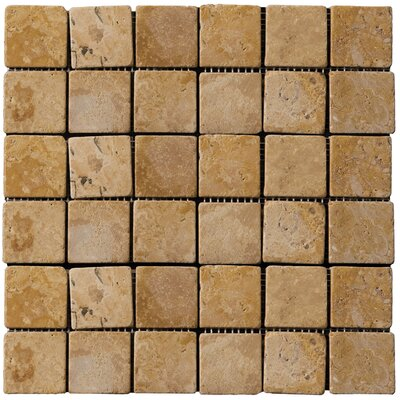 "Emser Tile Natural Stone 12"" x 12"" Travertine Mosaic in Oro"