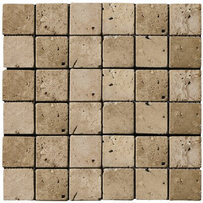 "Emser Tile Natural Stone 2"" x 2"" Travertine Mosaic in Mocha"