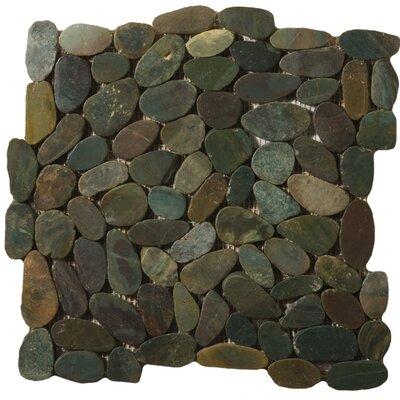"Emser Tile Natural Stone 12"" x 12"" Flat Rivera Pebble Mosaic in Green"