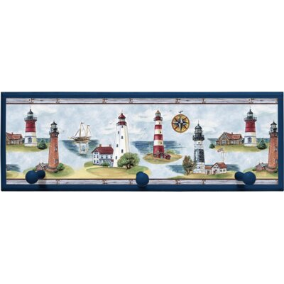 Lighthouse Wall Plaque with Wooden Pegs