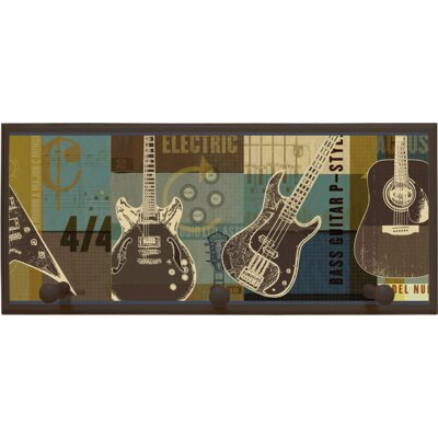 Illumalite Designs Guitar Collage Wall Plaque with Wooden Pegs