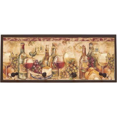 Wine Still Life Wall Plaque with Wooden Pegs