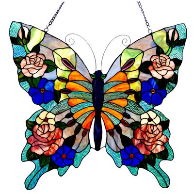 Tiffany Style Butterfly Window Panel