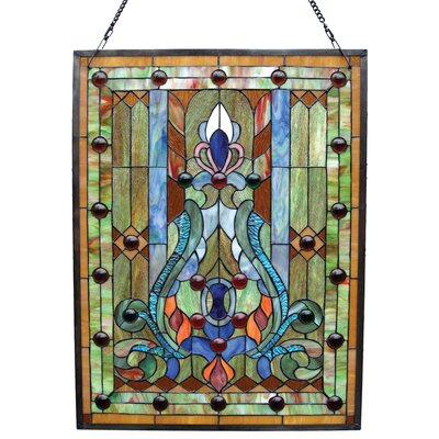 Tiffany Style Victorian Window Panel with 30 Cabochons
