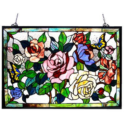 Tiffany Style Roses / Butterflies Design Window Panel
