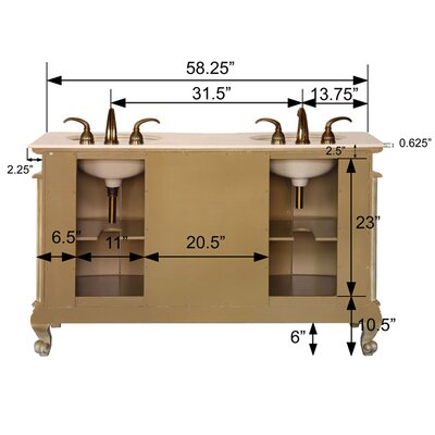 "Silkroad Exclusive Andrea 58"" Double Sink Bathroom Vanity Set"