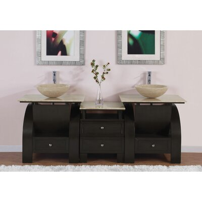"Silkroad Exclusive Niagara 77"" Double Bathroom Vanity Set"