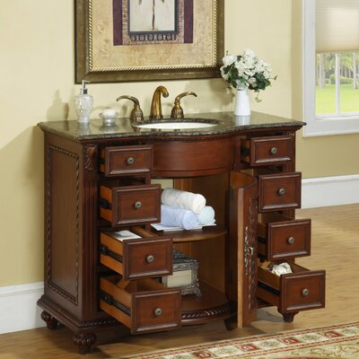 "Silkroad Exclusive Michelle 42"" Single Sink Bathroom Vanity Set"