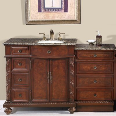 "Silkroad Exclusive Victoria 56"" Single Sink Bathroom Cabinet Vanity Set"