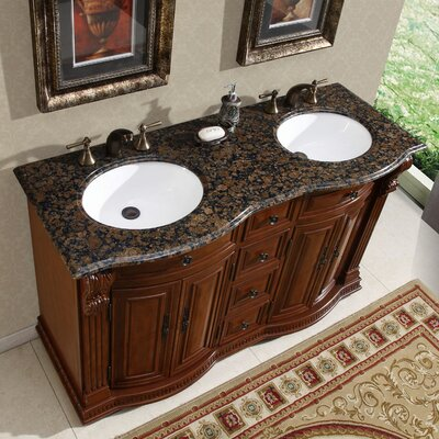 "Silkroad Exclusive Monica 55"" Double Sink Bathroom Vanity Set"