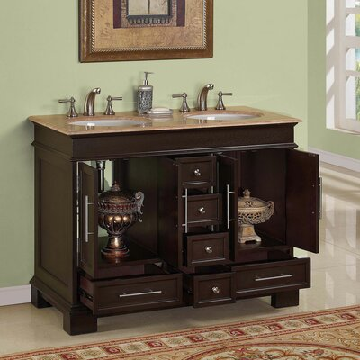 "Silkroad Exclusive Sally 48"" Double Sink Bathroom Vanity Cabinet"