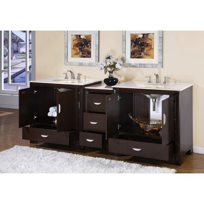 "Silkroad Exclusive Ilene 89"" Double Sink Bathroom Vanity Set"