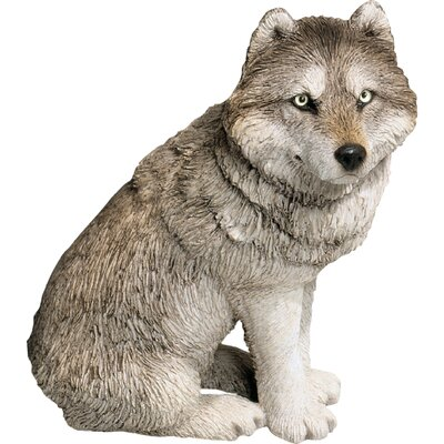 Mid Size Wolf Sculpture in Gray