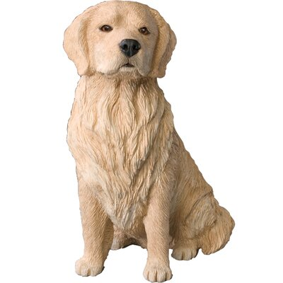 Sandicast Original Size Sitting Light Golden Retriever Sculpture