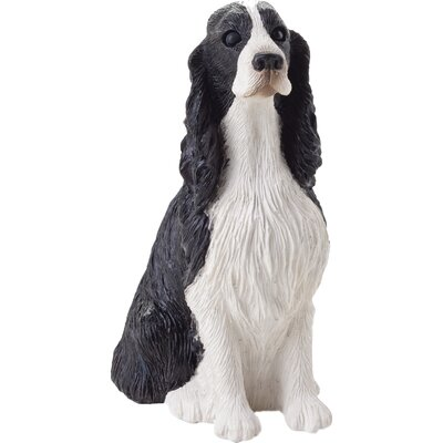 Sandicast Small Size Springer Spaniel Sculpture in Black / White