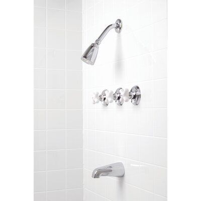 Premier Faucet Ashbury Three-Handle Volume Control Tub and Shower Faucet with Cross Handle