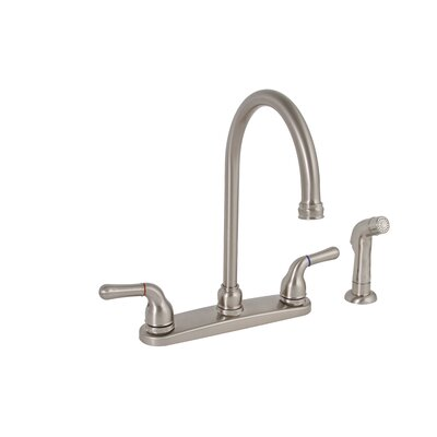 Premier Faucet Sanibel Two Handle Centerset High Arch Kitchen Faucet with Matching Spray