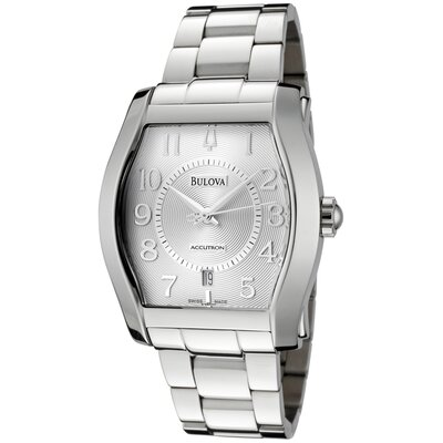 "Accutron by Bulova Men""s Swiss Made Automatic Watch in Silver"