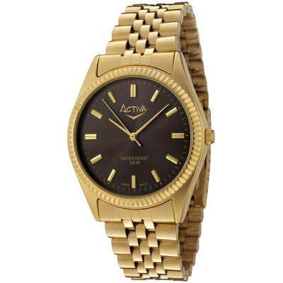 Men's Black Dial Watch in Gold Tone