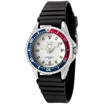 Women's White Dial Watch in Black
