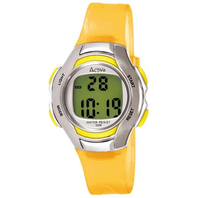 Women's Digital Multi-Function Watch with Yellow Transparent Strap