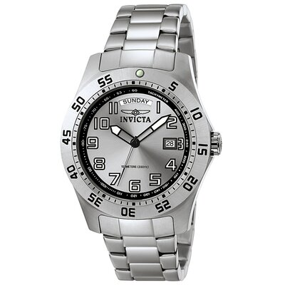 Men's Pro Diver Stainless Steel Watch with Silver Dial