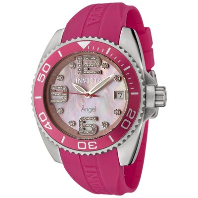 Invicta Women's Angel White Crystal Pink Mother of Pearl Dial Watch