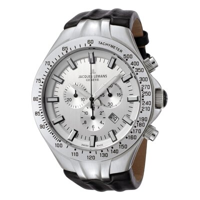 Men's Genève / Tornado Timer Silver Dial Chronograph Watch in Black