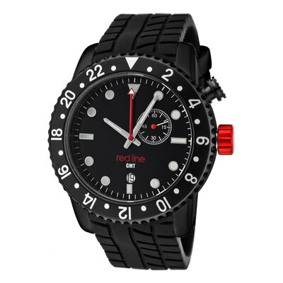 Red Line Men's Classic GMT Silicone Round Watch