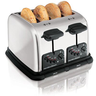 Hamilton Beach Classic Chrome 4 Slice Extra Wide Slot Toaster