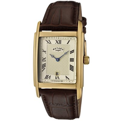 Men's Brown Leather Watch with Champagne Textured Dial