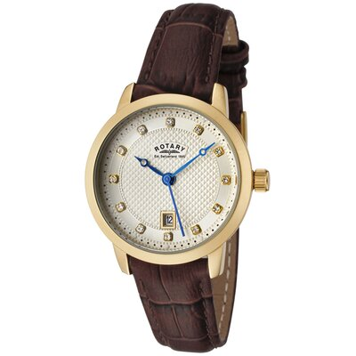 Women's White Swarovski Elements Champagne Textured Dial Brown Leather Watch