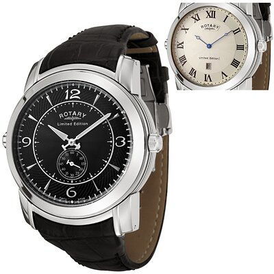 Men's Revelation Reversible Face Black Leather Watch with White Guilloche Dial