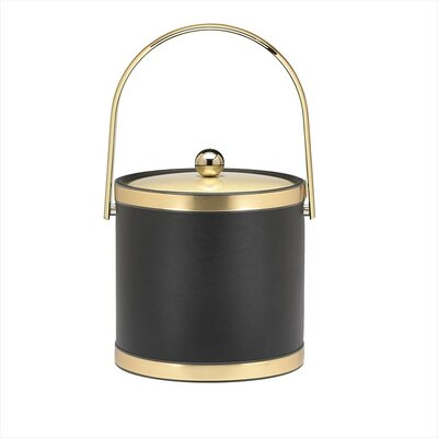 Kraftware Sophisticates Ice Bucket with Track Handle in Black