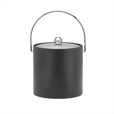 Soho 3 Qt Leatherette Ice Bucket with Bale Handle in Black