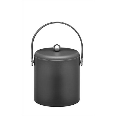Soho 3 Qt Ice Bucket with Chrome Lid in Black Leatherette